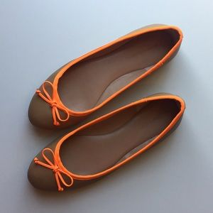 Banana Republic Ashley Ballet Flats Bow Tan Orange